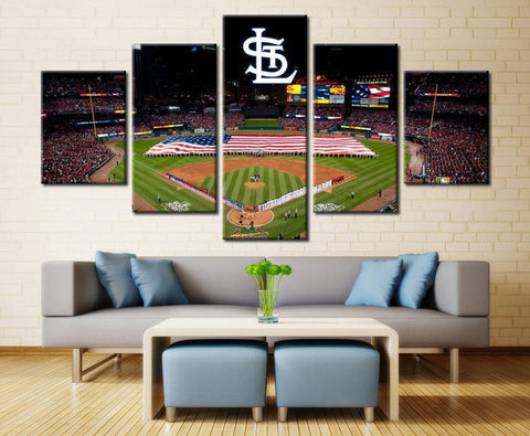 5 Piece Canvas St. Louis Cardinals Baseball Stadium Wall Art - EpicKanvas