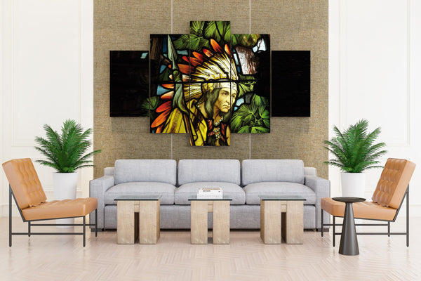 Stained Glass Art of Native American Indian - 5 piece Canvas