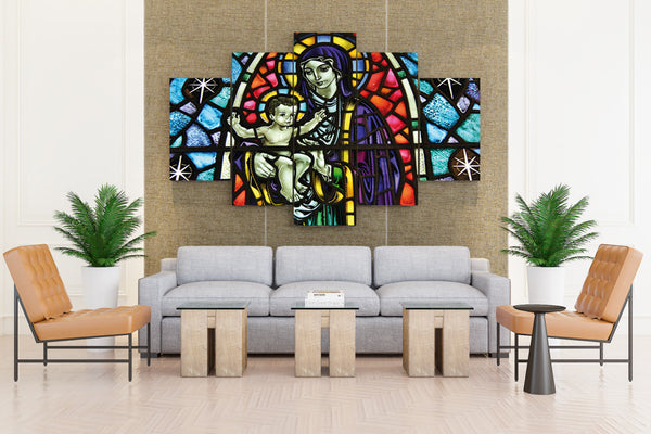 Stained Glass Art Window Religion - 5 piece Canvas - EpicKanvas