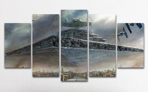 5PCS Framed Star Destroyer Canvas Prints - 5 Piece Canvas Star Wars Battle Artwork on Canvas Wall Art for Office and Home Wall Decor