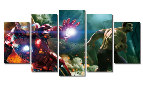 5 Piece Framed Marvel Stark & Hawkeye Artwork Green Hawk Stark Avengers on Wall Art for Office and Home Wall Decor