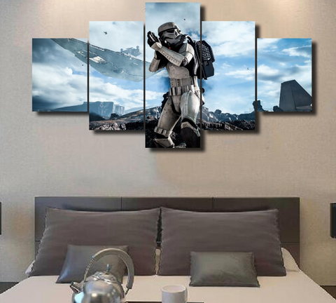 Framed Star Wars Stromtrooper Shooting Dark Side - 5 Piece Canvas - EpicKanvas