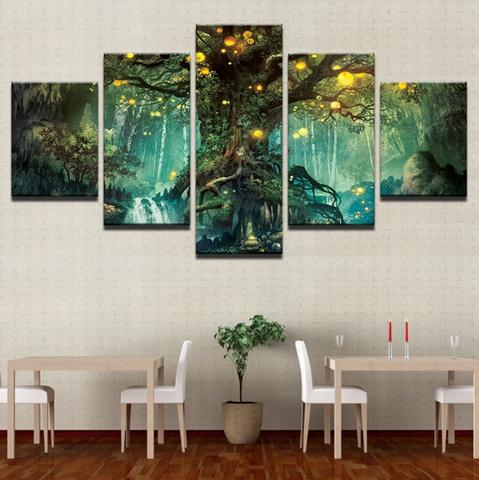 5 Pcs Enchanted Tree Canvas - 5 piece Miracle Tree Art For Your Home/Office Room
