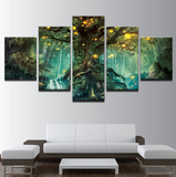 5 Pcs Enchanted Tree Canvas - 5 piece Miracle Tree Art For Your Home/Office Room - EpicKanvas
