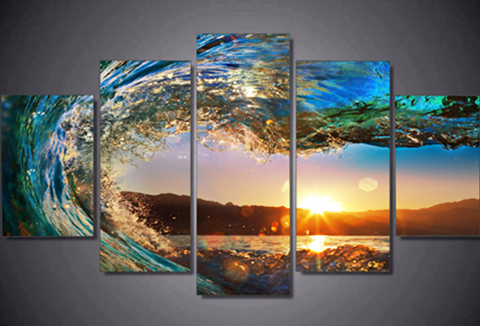 Eye of the Wave Lion Canvas Prints - 5 piece Canvas