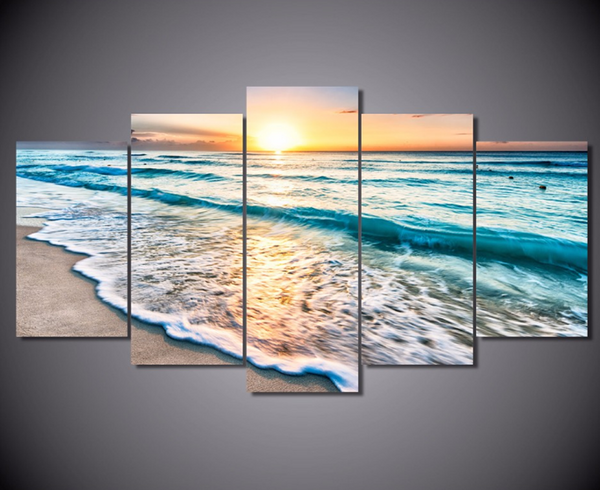 5PCS Framed Sunrise & Turquoise Canvas Art - 5 Piece Canvas Nature Beach Artwork on Wall Art for Office and Home Wall Decor - EpicKanvas