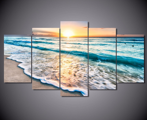 5PCS Framed Sunrise & Turquoise Canvas Art - 5 Piece Canvas Nature Beach Artwork on Wall Art for Office and Home Wall Decor