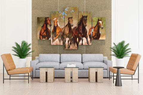 5 PCS Running Horse Canvas Prints - Horse Running Drive Motivation Artwork Canvas Prints Encouragement Paintings on Wall Art for Office and Home Wall Decor
