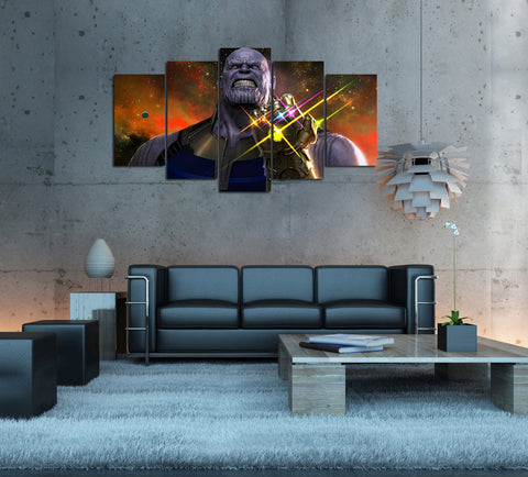 Empowered Living™ - 5PCS Framed Thanos Avengers Infinity Wars Canvas - 5 Piece Infinity Wars Thanos The Bastard Devil Marvel Artwork for Office/Home Wall Decor