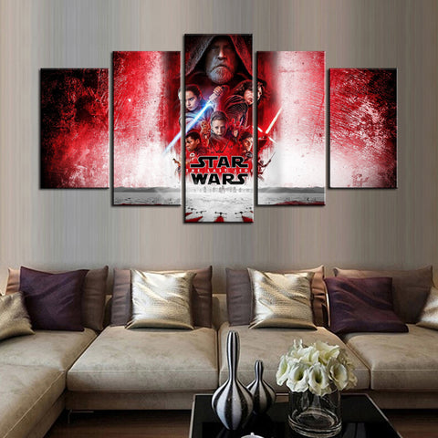 5PCS Framed StarWars 8 The Last Jedi Canvas - 5 Piece Canvas Starwars Artwork Canvas Prints JEDI on Canvas Wall Art for Office & Home Wall Decor