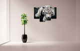 4PCS White Tiger Resting Artwork - 4 piece Framed Canvas 21st Century Friendly Tiger For Home/Office Decor - EpicKanvas