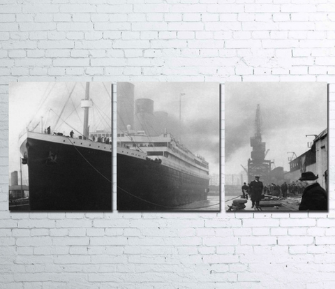 3PCS Framed TITANIC Canvas Prints - 3 Piece Canvas CLASSIC TITANIC Wall Art for Office and Home Wall Decor