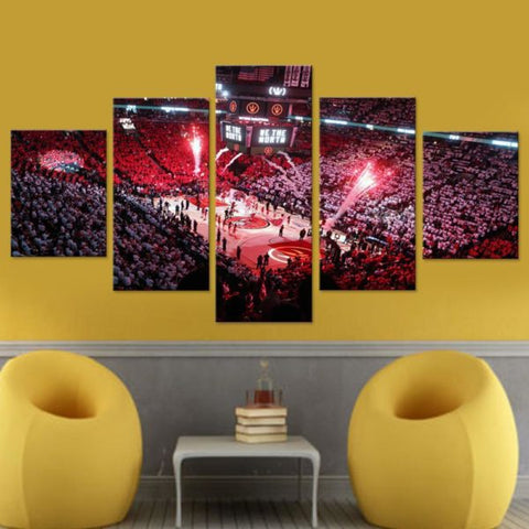 5 Pcs Framed Toronto Raptors Basketball Stadium Canvas Art For Home & Office Wall Decor - EpicKanvas