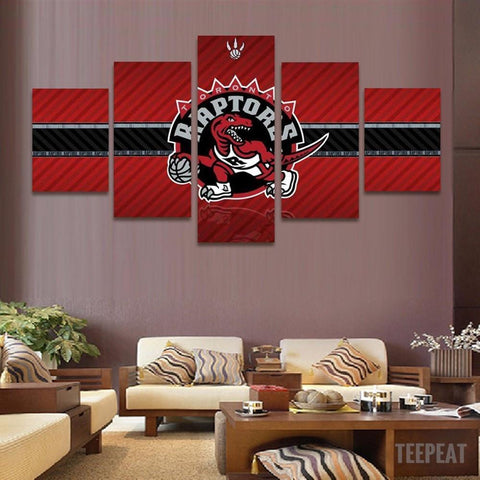 5 Pcs Framed Toronto Raptors Team Logo Canvas Art For Home & Office Wall Decor - EpicKanvas
