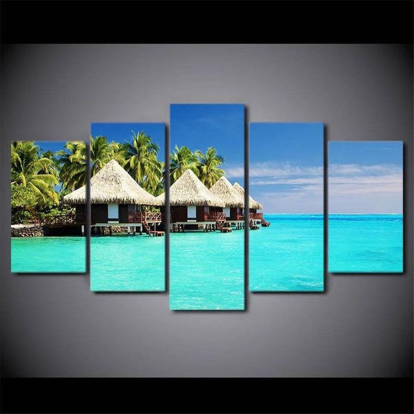 5PCS Framed Turquoise Maldives Canvas Art - 5 Piece Canvas Nature Beach Artwork on Wall Art for Office and Home Wall Decor - EpicKanvas