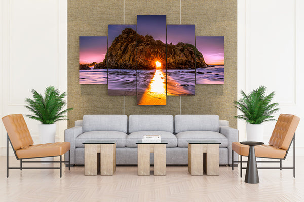 USA Coast Sunrises and Sunsets Pfeiffer Beach - 5 piece Canvas - EpicKanvas