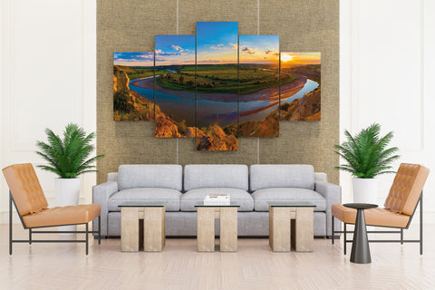 USA Parks Scenery Rivers Grasslands Sunrises and sunsets Clouds - 5 piece Canvas - EpicKanvas