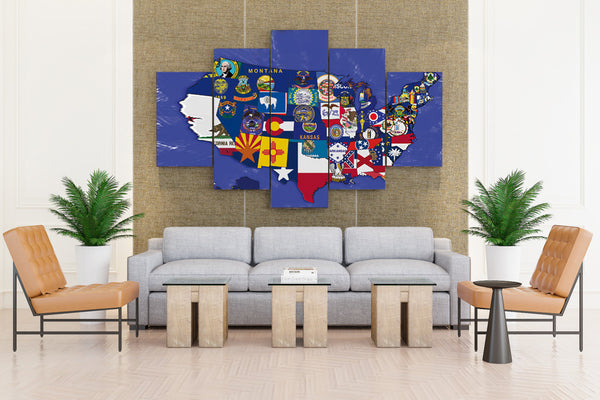 USA Map JayJaxon on DeviantArt - 5 piece Canvas - EpicKanvas