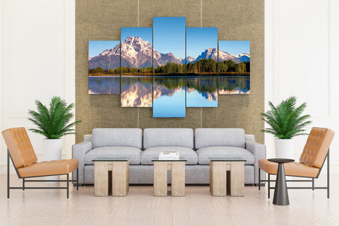 USA Wyoming Grand Teton National Park Mount Moran Lake - 5 piece Canvas - EpicKanvas