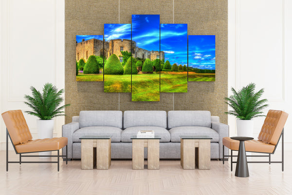 United Kingdom Castles Sky Chirk Castle Wales - 5 piece Canvas