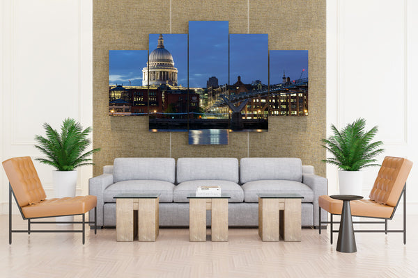 United Kingdom Houses Rivers Bridges London Night - 5 piece Canvas