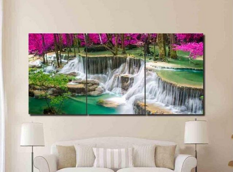 3 Pcs Framed Wonderful Waterfalls for your Home/Office Space
