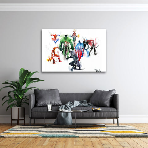 1 Piece Framed New Watercolor Marvel Avengers Super Hero Artwork on Wall Art for Office and Home Wall Decor - EpicKanvas