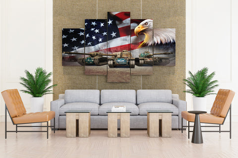 World of Tanks Tank Eagles USA Flag Games Military - 5 piece Canvas