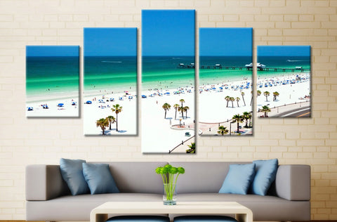 Beach  White Sand & Turquoise Water - 5 Piece Canvas