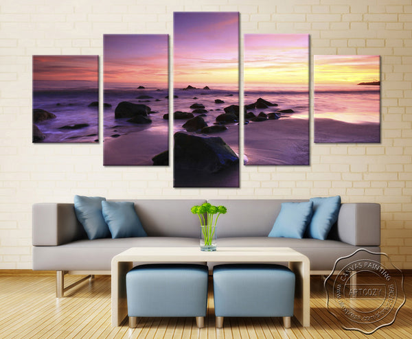 Natural Stone Sky and sea Beach - 5 piece Canvas - EpicKanvas