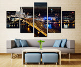 Cologne Cathedral & Bridge Overpass, Germany - 5 piece Canvas - EpicKanvas
