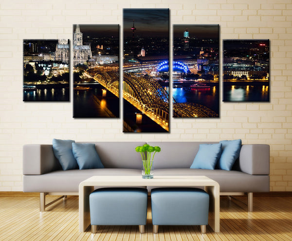Cologne Cathedral & Bridge Overpass, Germany - 5 piece Canvas