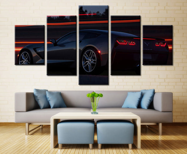 Super black car - 5 piece Canvas