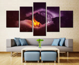 Burning Charcoal on Brave Hand Painting - 5 piece Canvas