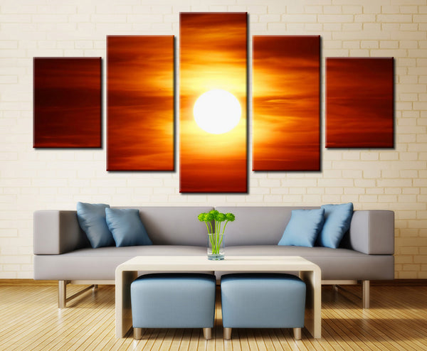 Sinking sunrise  - 5 piece Canvas - EpicKanvas
