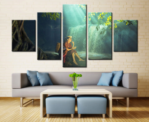 Woman Relaxing at Waterfall - 5 piece Canvas - EpicKanvas