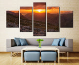 Natural mountain and sun - 5 piece Canvas - EpicKanvas