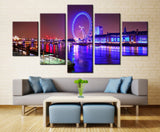 Lighting water - 5 piece Canvas