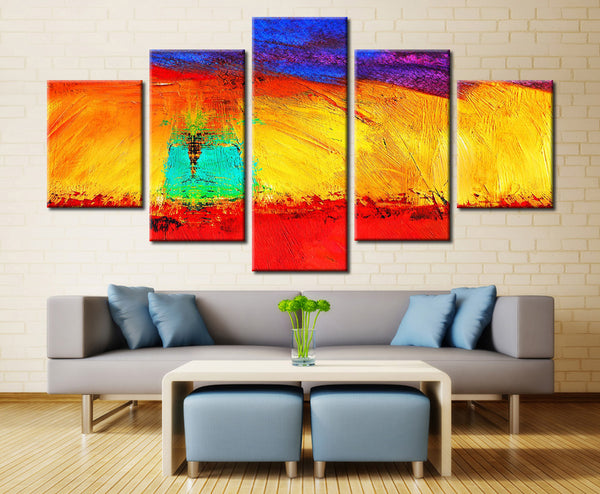 Multi Bright Color painting - 5 piece Canvas