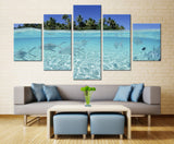 Natural sky Tree and fish - 5 piece Canvas