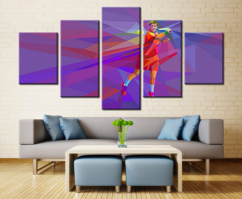 Tennis Player Abstract Canvas Art