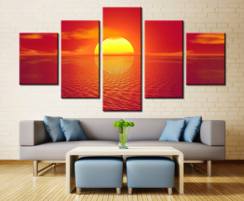 Sunset and sea - 5 piece Canvas