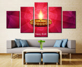 Diwali: Lighted Candle - 5 piece Canvas - EpicKanvas