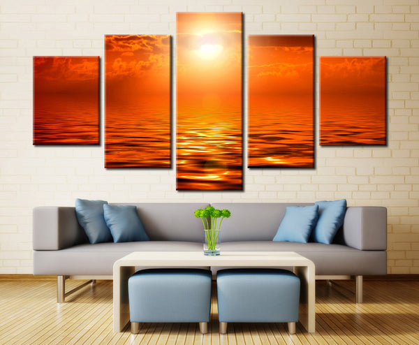 Sun Over the Sea - 5 piece Canvas - EpicKanvas