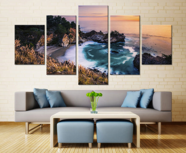 Natural Mountain and sea beach - 5 piece Canvas
