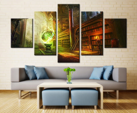 1950's Library w/ Colorful World Map - 5 piece Canvas - EpicKanvas