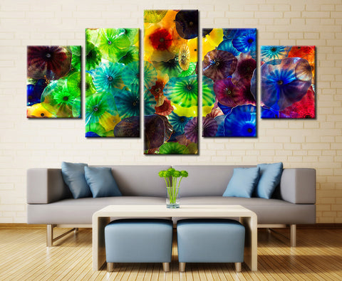 Colored Jelly Fish painting - 5 piece Canvas