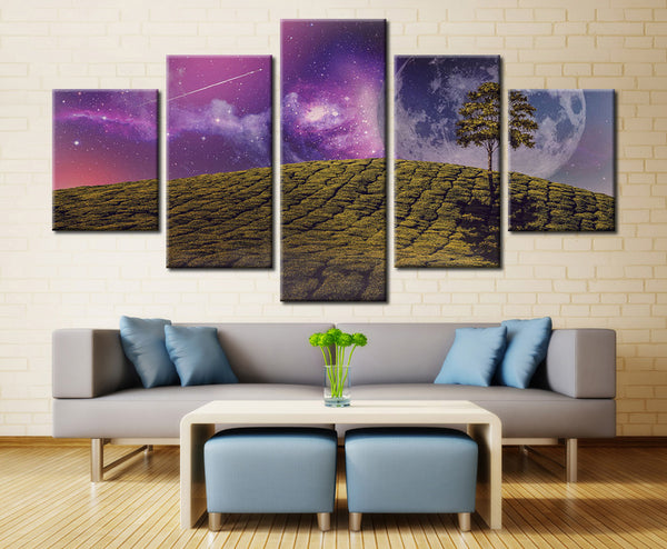Natural Space planet and tree - 5 piece Canvas