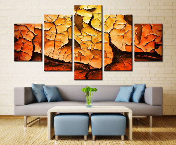 Cracked Surface Color Painting - 5 piece Canvas