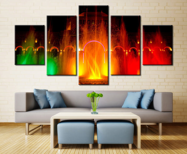 Colored Fountain painting - 5 piece Canvas